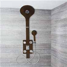 Genoa Tempered Glass Rainfall Shower Panel Tower System with Body Shower Jet & Hand Shower