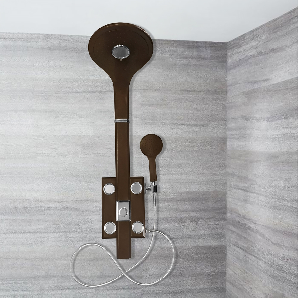 Genoa Oil Rubbed Bronze Tempered Glass Rainfall Shower Panel With Hand  Shower