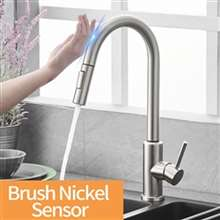 Fontana St. Gallen Brushed Nickel Stainless Steel Sensor Faucet with Pull Down Sprayer
