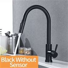 Fontana Le Havre Matte Black Stainless Steel Without Sensor Faucet with Pull Down Sprayer