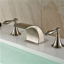 Bilbao Brushed Nickel Double Handle Deck Mount Widespread Bathtub Faucet