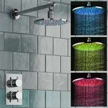 "8"" Round LED Thermostatic Mixer Shower Kit Modern Bathroom Concealed Set"