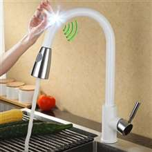 Fontana Cholet Chrome White Smart Sensor Kitchen Faucet with Pull Down Sprayer