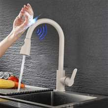 Fontana Geneva Light Gray Smart Sensor Kitchen Faucet with Pull Down Sprayer