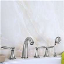 Boeotia Deck Mount Bathtub Faucet with Handheld Shower