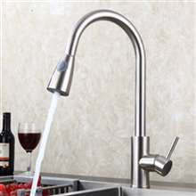 Fontana Bavaria Brushed Nickel Sensorless Kitchen Faucet with Pull Down Sprayer