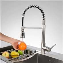 Fontana Sète Brushed Nickel Finish Pull Down Stainless Steel Sensorless Kitchen Faucet