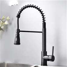 Fontana Cholet Matte Black Finish Pull Down Stainless Steel Sensorless Kitchen Faucet