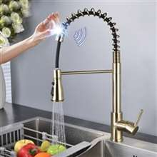 Fontana Marsala Gold Finish with Pull Down Sprayer Stainless Steel Smart Sensor Kitchen Faucet