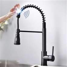 Fontana Carpi Matte Black Finish with Pull Down Sprayer Stainless Steel Smart Sensor Kitchen Faucet