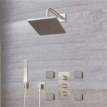 Fontana Lima Brushed Nickel thermostatic Rainfall Shower System Set