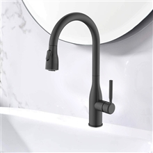Fontana Le Havre Brass Pull Down Sensorless Kitchen Faucet Matte Black Finish