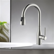 Fontana Melun Brass Pull Down Sensorless Kitchen Faucet Brushed Nickel Finish