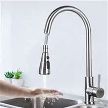 Fontana Marsala Gooseneck Sensorless Brushed Nickel Finish Kitchen Faucet with Pull Down Sprayer