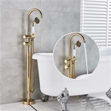 Fontana Carpi Floor Mounted Dual Handle Bathroom Faucet with Hand Shower