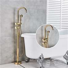 Fontana Bollnäs Gold Floor Mounted Tub Sink Faucet with Hand Shower