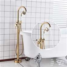 Fontana Dijon Single Handle with Hand Shower Floor Mounted Tub Sink Faucet Gold Finish