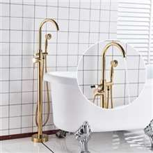 Fontana Creteil Floor Mounted Gold Finish Tub Sink Faucet Single Handle with Hand Shower