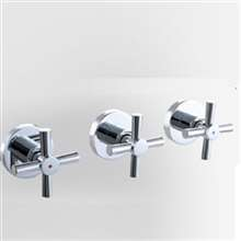 3-Handles 2-way Bathroom Shower Valve In-wall Mixer Valve Shower Faucet Control Valve Chromed Plated Brass Material 7001-2