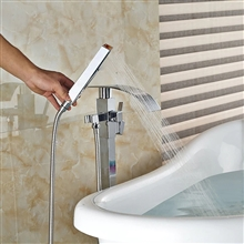 Fontana Verona Bath Tub Faucet Floor Mounted Chrome Finish with Handheld Spray