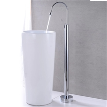 Fontana Creteil Gooseneck Floor Standing Basin Bathroom Faucet Hot Cold Mixer Tap Chrome Finish