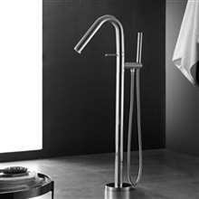 Fontana Geneva Full Solid Brass Standing Chrome Finish Bathroom Bathtub Tap Mixer Faucet