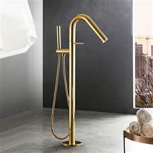 Fontana Geneva Full Solid Brass Standing Titanium Gold Finish Bathroom Bathtub Tap Mixer Faucet