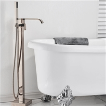 Fontana St. Gallen Brushed Nickel Floor Standing Bathtub Faucet Single Handle with Hand Shower