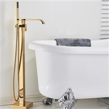 Fontana St. Gallen Gold Finish Floor Standing Bathtub Faucet Single Handle with Hand Shower