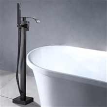 Fontana St. Gallen Oil Rubbed Bronze Finish Floor Standing Bathtub Faucet Single Handle with Hand Shower
