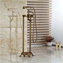 Fontana Dax Antique Brass Floor Stand Bathtub Shower Faucet with Hand Shower