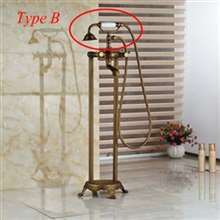 Fontana Chatou Antique Brass Floor Stand Bathtub Shower Faucet with Hand Shower