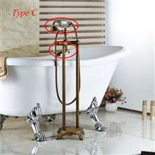 Fontana Melun Antique Brass Floor Stand Bathtub Shower Faucet with Hand Shower
