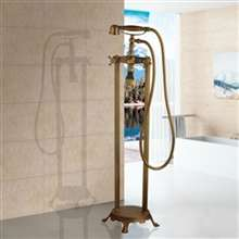 Fontana Le Havre Antique Brass Floor Standing Telephone Style Bath Shower Faucet