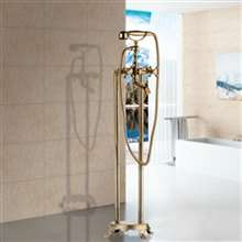 Fontana Le Havre Gold Floor Standing Telephone Style Bath Shower Faucet