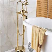 Fontana Chatou Dual Handle Floor Mount Free Standing Telephone Style Tub Faucet in Gold Finish