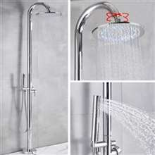 Fontana Dijon Floor Standing Outdoor Shower Faucet Set with Rotatable Rainfall Shower Head in Chrome Finish
