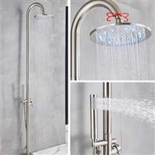 Fontana Dijon Floor Standing Outdoor Shower Faucet Set with Rotatable Rainfall Shower Head in Brushed Nickel Finish
