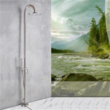 Fontana Bavaria Floor Standing Rainfall Shower Faucet Single Handle Brushed Nickel Finish
