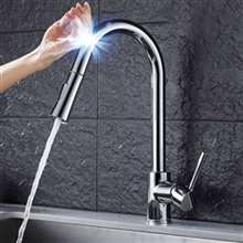 Fontana St. Gallen Stainless Steel Pull Down Kitchen Faucet with Assistive Touch in Chrome Finish