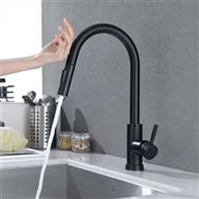 Fontana Geneva Stainless Steel Pull Down Kitchen Faucet with Assistive Touch in Matte Black Finish