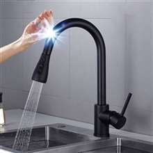 Fontana Chatou Stainless Steel Pull Down Kitchen Faucet with Assistive Touch in Matte Black Finish