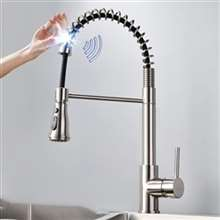 Fontana Marseille Stainless Steel Pull Down Kitchen Faucet with Assistive Touch in Brushed Nickel Finish