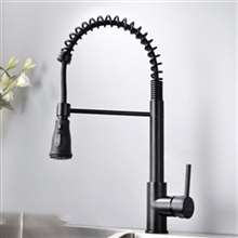 Fontana Geneva Matte Black Finish Stainless Steel Kitchen Faucet with Pull Down Sprayer