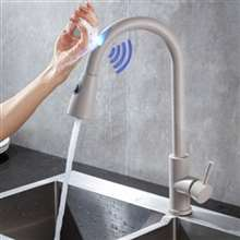 Fontana Le Havre Pull Down Gray Finish with Touch Sensor Kitchen Faucet