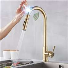 Fontana Chatou Gold Finish with Touch Sensor Pull Down Kitchen Faucet