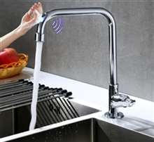 Fontana Le Havre L Shape Chrome Zinc Alloy Single Handle Cold Sensor Touch Kitchen Faucet