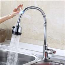 Fontana Lyon Single Handle Gooseneck with Round Head Sensor Touch Kitchen Faucet