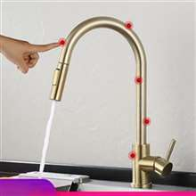 Fontana Creteil Gold Finish Stainless Steel Pull Out Sensor Touch Kitchen Sink Faucet