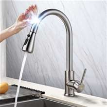 Fontana Deauville Brushed Nickel Pull Out Sensor Touch Kitchen Sink Faucet with Button For Two Way Flow
